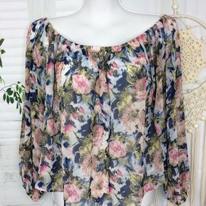 Adrienne Off the Shoulders Crop Floral Top Large